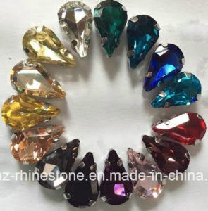 Colored Rhinestone Flat Back Sew on Glass Beads for Shoe Ornanment (SW-Tear drop 17*28mm) pictures & photos