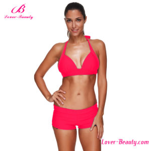 Pink Halter Plus Size Sexy Mature Bikini Swimwear
