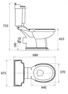 Two Piece Ceramic Toilet Ce Washdown Water Closet Wc 00112 pictures & photos