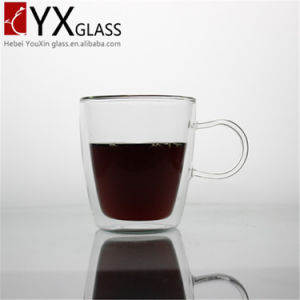 300ml Borosilicate Double Wall Glass Tea Cup with Handle pictures & photos