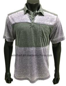 Two Colors Splicied Polo T-Shirt for Men with Burn-out pictures & photos