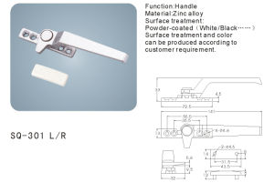 Zinc Alloy Handle for Windows/Doors Hardware Fittings (SQ-301 L/R) pictures & photos