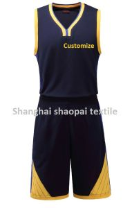 2017 New Customize Basketball Jersey Suit Black and Yellow pictures & photos