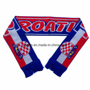 Sports Fan Scarf Jacquard Knitting Scarf with Tussles pictures & photos