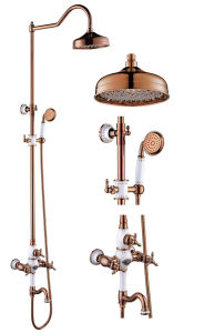New Design Ceramic Double Handle Zf-602-1 Antique Brass Rain Shower Set pictures & photos