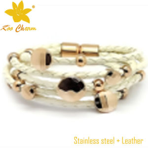 Fashion Stainless Steel with Genuine Leather Bangle pictures & photos