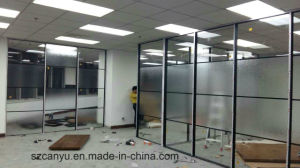 Office Aluminum Frame Fixed Double Glass Partition Wall with Blinds pictures & photos