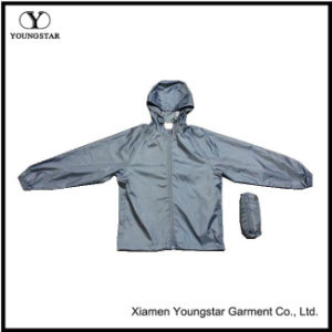 Plain Grey Casual Men′s Lightweight Windbreaker Jackets with Hood pictures & photos