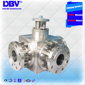 Industrial Stainless Steel 3 Ways Flange Floating Ball Valve