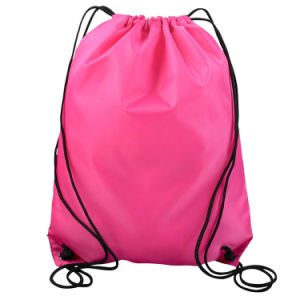 Light Pink Cotton Canvas Round Custom Drawstring Backpack pictures & photos