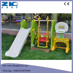 Indoor Playground Slide with Swing and Basketball pictures & photos