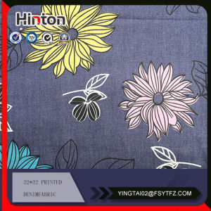 Big Flower Printed Denim Fabric for Lady Garment pictures & photos