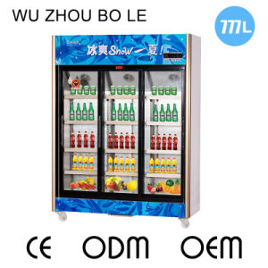 Upright Three Sliding Doors Beverage Refrigerator with LED Light