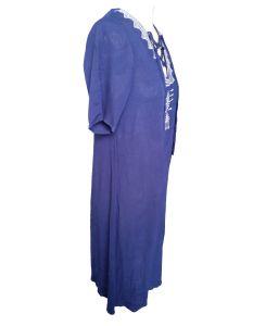 Summer Folk Style Blue Fashion Round Neck Charming Ladies Dress pictures & photos