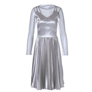 Silver Gray Sexy Knee Length Women Slip Evening Dress pictures & photos
