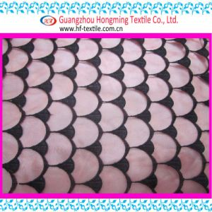 Black Cotton Thread Embroidery Lace Fabric (HPX220237A-01)