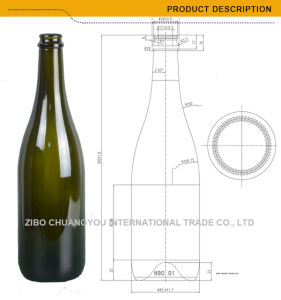 750ml Dark Green Champagne Wine Bottle Glass Wine Bottles (460) pictures & photos