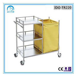 High Quality Stainless Steel Mobile Hospital Linen Trolley pictures & photos