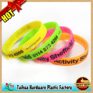 Custom Screen Printing Silicone Wristband (TH-0350) pictures & photos