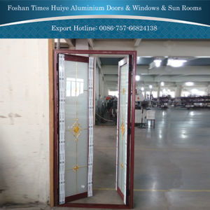 2 Panels of Aluminium Folding Door with Wooden Color pictures & photos