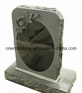 Grey Granite Carving Headstone, American Black Stone Headstone