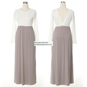 Long Chiffon Women Dress with V Backless pictures & photos