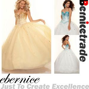 Gold/Blue Long Tulle Sequins Wedding Dress
