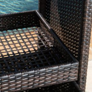 Well Furnir For entertaining Outdoor Brown Wicker Bar Cart pictures & photos
