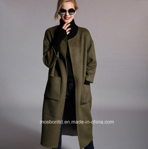 Classic Ladies Winter Cashmere Wool Long Coat, Fashion Woman Winter Coat pictures & photos