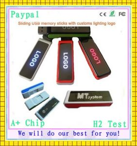 Sliding USB Memory Sticks with Customs Lighting Logo (GC-S514) pictures & photos