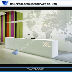 New Design Artificial Stone White L Shape Modern Salon Reception Desk pictures & photos
