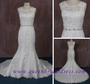 Fashion Glamorous Illusion Wedding Dress with High Quality Lace and Crystal Waist Belt