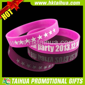 Hot Sale Color Silicone Bracelet with Print Logo (TH-band024) pictures & photos