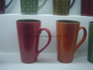Ceramic V Shaped Mug with Pattern pictures & photos