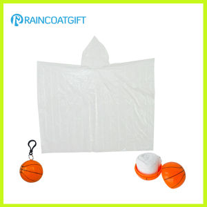 White Clear Disposable PE Rain Poncho Ball pictures & photos