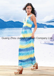 Knit Deep V Tribal Print Women New Fashion Design Maxi Dress pictures & photos