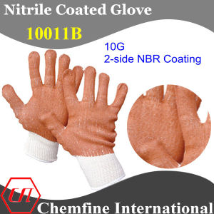 10g White Polyester/Cotton Knitted Glove with 2-Side Brown NBR Coating (10011B) pictures & photos