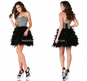 Feather Evening Gown Crystals Short Party Prom Coctkail Dresses Z9046 pictures & photos