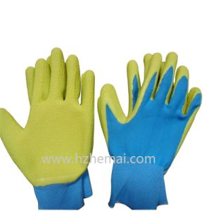 Colorful Gardening Gloves Foam Latex Coated Safey Work Glove pictures & photos