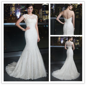 New Arrival Floor Length Scoop Neck Cap Sleeve Detachable Jacket Full Lace Mermaid Wedding Gown (BD10028)
