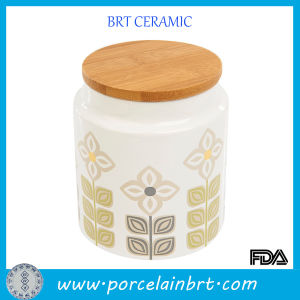 Decal Floral Ceramic Storage Jar with Wooden Lid pictures & photos