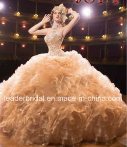 Champagne Organza Wedding Dress Ruffled Quinceanera Dress Ld15220 pictures & photos
