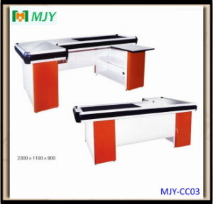 Supermarket Checkout Counter with Conveyor Belt Mjy-Cc09 pictures & photos