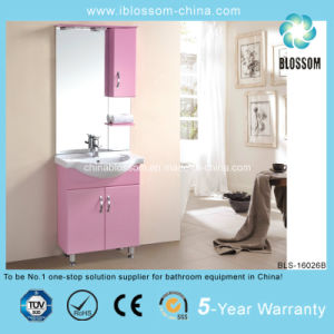 12mm Cabinet Carcase Pink Color Bathroom Cabinet Furniture (BLS-16026B) pictures & photos