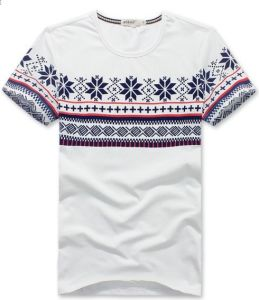 Men Ethnic Print White Fashion Fit Cotton T-Shirt pictures & photos