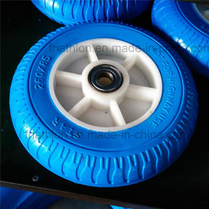 10X1.75 10X2 10X2.125 10X3 10X5.5 Ribbed Flat Free PU Foam Tires with Plastic Spoked Rim pictures & photos