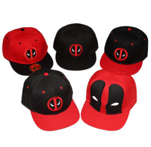 Hot Sale Deadpool Hip Hop Flat 6-Panel Baseball Hat with Embroidered pictures & photos