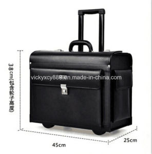 Wheeled Leather Business Travel Flight Case Boarding Case Bag (CY9960) pictures & photos