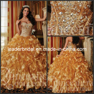 Organza Quinceanera Dresses Gold Ball Gown Dress Q26754 pictures & photos