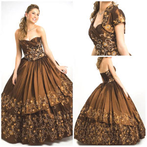 2012 Magnificent Sexy Sweetheart A-Line Sheath Jacket Ruffle Appliqued Taffeta Quinceanera Dress (QD-043)
